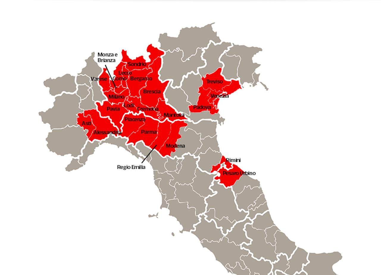 Cartina Emilia Romagna E Lombardia.Coronavirus Chiusure Di Accesso Alla Lombardia Veneto Ed Emilia Romagna Il Decreto Nelle Prossime Ore La Voce Di Bolzano